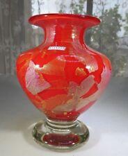 Gozo Malta heavy Pop Art Glass Red Coral vase in manner of Jean Claude Novaro