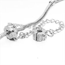 5X Silver Safety Chain Clip Lock Stopper Clasp Beads Fit European Charm Bracelet