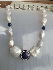 Perlen Kette Biwa Keshi Perlen. Süßwasser Perlen Collier, Lapis Lazuli Hematite