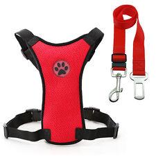 Malla de aire coche Arnés y plomo de perro mascota gato Clip para cinturón de asiento de seguridad Viaje Camiseta S-L