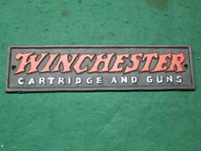 Contemporary Cast Iron Winchester Cartridge And Guns Plaque Sign Western Decor