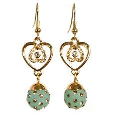 Boucles d'oreilles plaqué or cristal Swarovski coeur boule résine dorées vertes