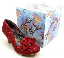 WOMENS IRREGULAR CHOICE KANJANKA RED GLITTER SLIP ON HEELS COURT SHOES SIZE 7.5
