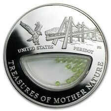 Treasures Mother Nature Peridot United States 1$ Fiji 2012 Silver Coin