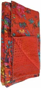 Indian Handmade Multicolor Quilt Vintage Tropicana Printed Kantha Spread Throw 6