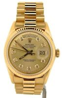 Mens Rolex Day-Date President 18K Yellow Gold Watch Champagne Diamond Dial 1803