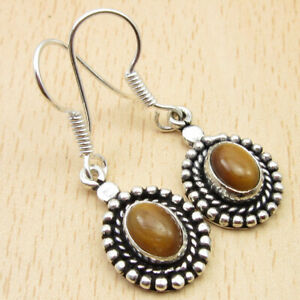 925 Silver Plated Natural TIGER'S EYE VINTAGE STYLE Earrings 3.7 cm Jewelry