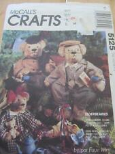 """MCCALLS SEWING PATTERN FOR 19"""" AND 15"""" ELDERBEARIES BEARS AND CLOTHES FAYE WINE"""
