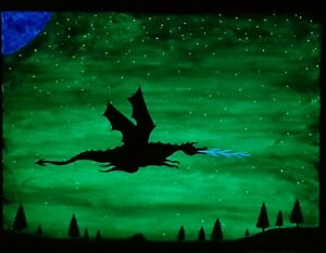 Kids room decor, childrens painting, dragons, glow in the dark, acrylics,  AU