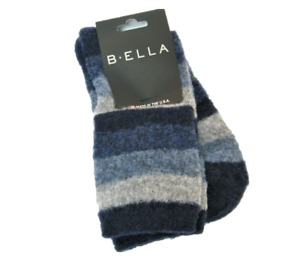 b.ella Ladies Merino Wool Blend Crew Socks Lexy Stripe Navy Blue Grey - NEW
