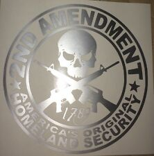 2ND AMENDMENT GUN* vinyl decal sticker Truck Diesel car hunting Silver funny
