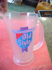 """BS4 RARE frosted plastic Heileman's Old Style Beer Pitcher 9"""" H x 6"""" dia 2 quart"""