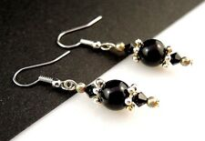 1 Pair of Black Agate Natural Gemstone Dangle Earrings - #409