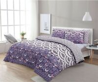 NightComfort Purple Feather Boho Chic Duvet Cover & Pillow Cases Bedding Set