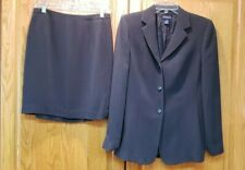 Ann Taylor Rayon Blend Two-Piece Gray Pinstripe Career Skirt Suit Size 8