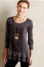 Anthropologie Gray Lace Tunic Top by Meadow Rue Sz Small Dark Gray NWOT