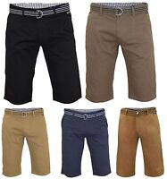 Mens Chino Shorts Slim Fit Cargo Summer 100% Cotton Half Pants With Free Belt