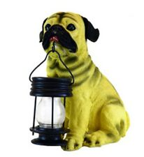 Outdoor Garden Landscape Walkway decoration Pug Dog With Lantern Solar Light