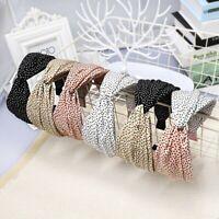 Women's Wide Tie Headband Hairband Knot Cross Fabric Band Hair Hoop Accessories