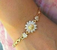 New Charm Rose Gold Tone Bracelet Sunflower Women Girls Jewelry US Seller
