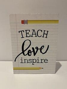 """""""Teach Love Inspire"""" Wooden Teacher Sign Teacher appreciation gift decor"""