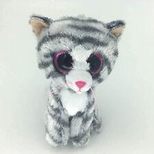 "Ty Beanie Boos 6"" Kiki Grey Tabby Cat Stuffed Plush Toys Child Gift CS"