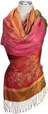 Abend Schal 100% Seide silk bestickt scarf stole handembroidered Rot Grün Red
