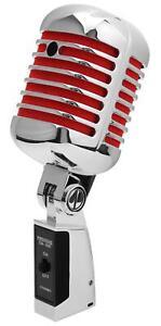 Microphone Dynamique Vintage Micro Elvis Rockabilly Enregistrement Studio Rouge