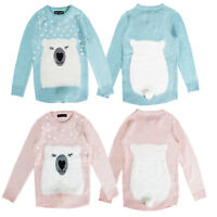 Love Girls Novelty Knitted 3D Polar Bear Christmas Jumper Kids Xmas Knit Sweater