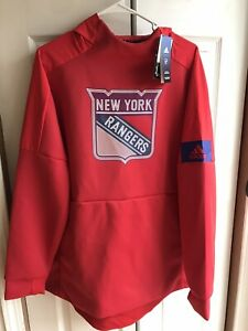 NWT Adidas New York Rangers Red Game Mode Hoodie Rinkside Player Size Large L