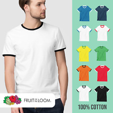 Mens Ringer T-Shirt Fruit Of The Loom Sports 2 Tone Summer Casual Football Tee