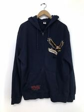 Mens Vintage ED HARDY by Christian Audigier XL Full Zip Hooded Cotton Sweater