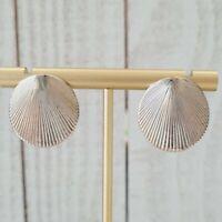 Vintage Monet Textured Seashell Round Silver Tone Stud Earrings
