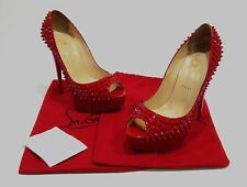$1395 Christian Louboutin Red Patent Leather Lady Peep Spikes 150 Pumps Sz 41/11