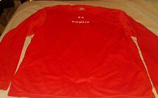 Men's Under Armour Long Sleeve Red-Orange Logo T-Shirt Large Kuwait Polyester