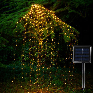 Solar Copper Led String Lights Outdoor Waterfall Fairy Icicle Lamp Garden EBS