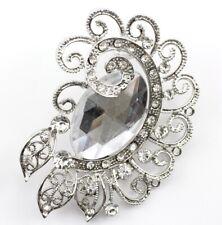 Bridal Wedding Brooch Pin Clear Classy Austrian Rhinestone Crystal