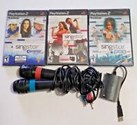 PS2 SingStar Bundle 3 NEW Games 2 Used Microphone & Converter Country Rocks POP2