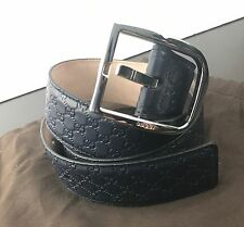 NWT AUTHENTIC GUCCI GG Mens Belt Size 95 IN Dark Navy Blue Leather Made In Italy