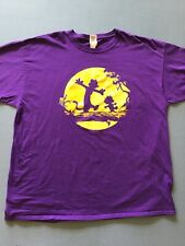 Vintage CALVIN And HOBBES Men's 2XL PURPLE T-Shirt Fruit Of The Loom HD