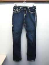 EUC True Religion Jeans Billy Super T Neon Yellow Stitching USA Made Size 28