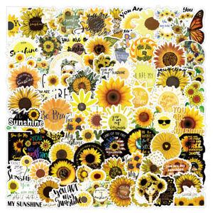 100pcs Yellow Sunflower Sticker Summer Bouquet Art Flower Garden Fall Scrapbook