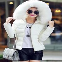 New Women's Winter Cotton Down Fur Collar With Hood Coat Jacket Short Outerwear