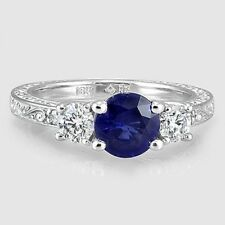 3Ct Round Cut Blue Sapphire Synt Diamond Deco 3 Stone Ring White Gold Fns Silver