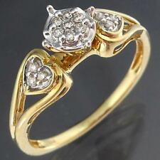 Modern  Love Heart Shoulder 18k Solid Yellow GOLD 13 DIAMOND CLUSTER RING Sz N