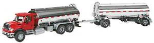 Walthers HO Scale International 7600 Tank Truck/Trailer (Red/Chrome) with Decals