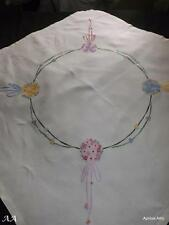 Vintage Irish Linen Hand Embroidered Tablecloth Flower Posies & Ribbons 103cm Sq