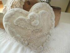 Herz mit Engel * Frohe Weihnachten * Terracotta beige Glimmer,Tischdeko, 13 cm