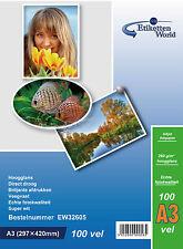 100 FOGLI a3 260 GSM Carta fotografica lucida alta a Getto D'inchiostro Carta EW di alta qualità