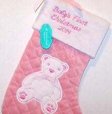 2014 NEW w/Tag St Nicholas Sq BABY's FIRST CHRISTMAS STOCKING Girl Quilted PINK